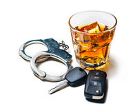 Dont drink and drive. Whiskey with car keys and handcuffs concept for drinking and driving Stock Photography