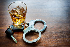 Dont drink and drive. Whiskey with car keys and handcuffs concept for drinking and driving Royalty Free Stock Image