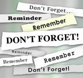 Dont Forget Remember Important Reminder Headlines 3d Illustratio. N Royalty Free Stock Photo