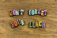 Dont forget your lunch child school stock image