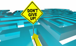 Dont Give Up Maze Lost Find Way Positive Attitude. 3d Illustration Stock Image