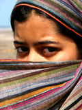 Dont Look at Me. A Indian lady dressed up like an Arabian woman Royalty Free Stock Image