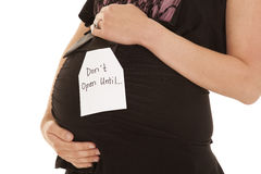 Dont open pregnant belly close Royalty Free Stock Photos