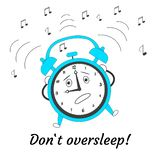 Dont oversleep. Cartoon jumping crazy alarm clock. Vector illustration vector illustration