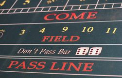 Dont Pass Bar. A Closeup of a craps table showing the pass line Stock Images