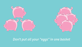 Dont put your egg in one basket. Investment quotes dont put your egg in one basket royalty free illustration