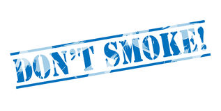 Dont smoke blue stamp. Isolated on white background Stock Photos