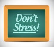 Dont stress message written on a chalkboard. vector illustration
