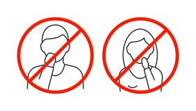 Free Dont Touch Your Face Line Icons On White Backgound Royalty Free Stock Photo - 175964675