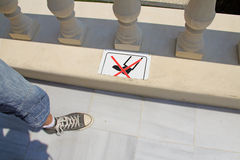 Dont walk on the marble Royalty Free Stock Photo
