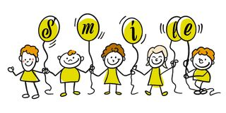 Dont worry be happy doodle kids Stock Image