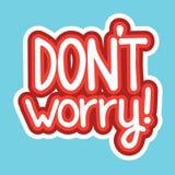 Dont Worry Sticker Social Media Network Message Badges Design Stock Image