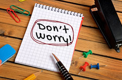 Dont worry word. On notepad Royalty Free Stock Images