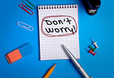 Dont worry word. Writing on paper Royalty Free Stock Image
