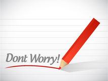 Dont worry written message illustration design Stock Image