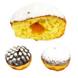 donut. Gigantic size big bite donut and two different flavor icing topping sweet pastries on white background Royalty Free Stock Photos
