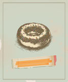 Donut. Vintage drawing with old paper Royalty Free Stock Image