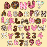 Donut alphabets set,sweet party Stock Photography