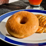 Donut and bagel for breakfast or snack Royalty Free Stock Photo