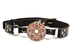 Donut ball gag. Isolated on white background Stock Photo