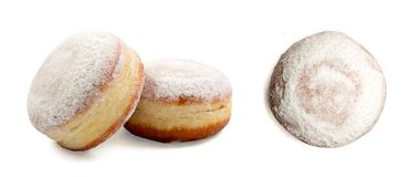 Donut berliner or sufgania. Donut berliner isolated on white background. Sufgania with clipping path Royalty Free Stock Photography