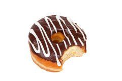 Donut with Bite Missing on White Background Stock Image