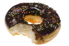 Donut with a bite off Royalty Free Stock Image
