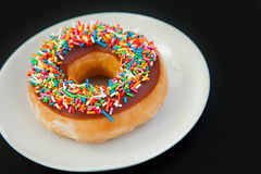 Donut on the black background Royalty Free Stock Image