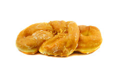 Donut brown with nuts Royalty Free Stock Photo