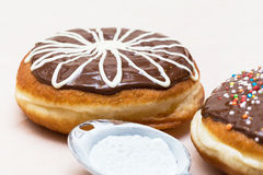 Donut with brown and white chocolate sugar powder. Hanukkah holiday Stock Image