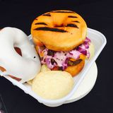 Donut burger. Food truck São Paulo Brazil Royalty Free Stock Image