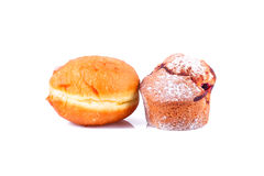 Donut and cake. Over white background Stock Image