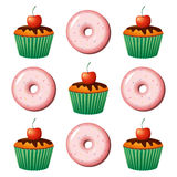 Donut and cake color vector illustration. Donut and cake color vector illustration on white background Stock Photos