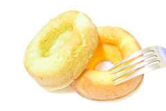 Donut cake orange and Donut cake pandan Royalty Free Stock Photography