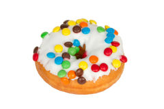 Donut with Candies and White Icing on White. Donut with Candies and White Icing Isolated on White Background royalty free stock photos