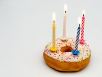 Donut with candle Royalty Free Stock Photos