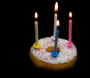 Donut with candle Royalty Free Stock Photography