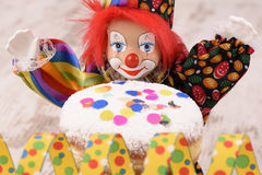 Donut at carnival with clown Royalty Free Stock Photo