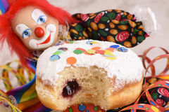Donut at carnival with clown Stock Photos