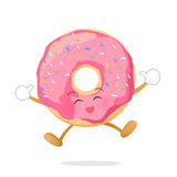 Donut cartoon jumping with happiness isolated on white backgroun Stock Photos