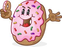 Frosted Donut Cartoon Character with Sprinkles Stock Image