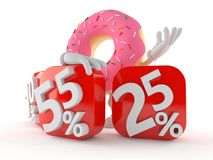 Donut character with percent symbols. Isolated on white background Royalty Free Stock Photography