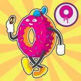 Donut character, walking and eating a donut. Vector image with striped background stock illustration