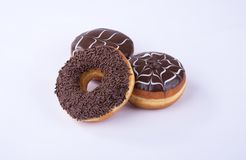 donut or chocolate donut on a background. Royalty Free Stock Photo