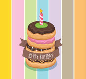 Donut chocolate birthday with candle  and cliparts Royalty Free Stock Image