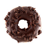 Donut in chocolate with chips. A single chocolate glazed donut with chocolate chips isolated white background Stock Photo