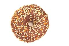 Donut with chocolate and chopped almonds isolated on white Royalty Free Stock Image
