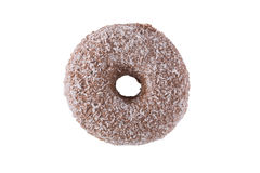 Donut in chocolate frosting and coconut flakes. Isolated on a white background top view stock photos