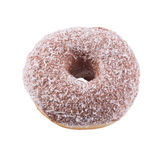Donut in chocolate frosting and coconut flakes. Isolated on a white background top view Royalty Free Stock Image