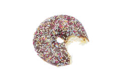 Donut with chocolate glaze and bite isolated Royalty Free Stock Image